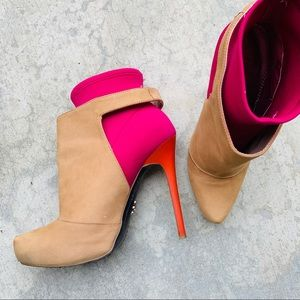 RACHEL ROY heeled booties tan bright pink sz.7.5